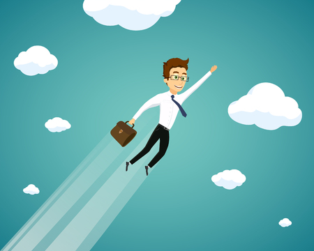 Man in a suit and with a briefcase flies in the sky. Career and success in business. Vector illustration.