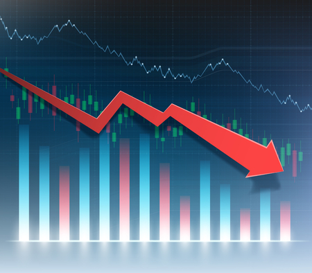 Grafico finanziario con freccia rossa verso il basso. Grafico della recessione economica. Illustrazione vettoriale.