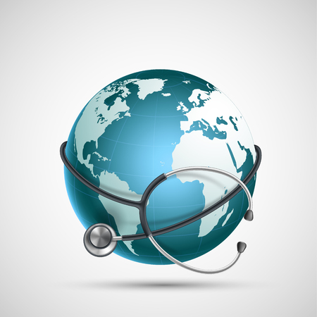 World Health Day icon. Planet Earth with a stethoscope. Vector illustration.