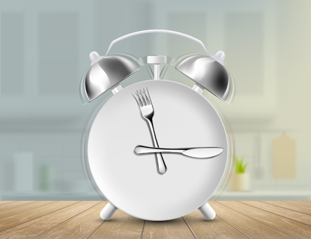 Plate with a fork and a knife as an alarm clock. Kitchen background with wooden table. Vector illustration.