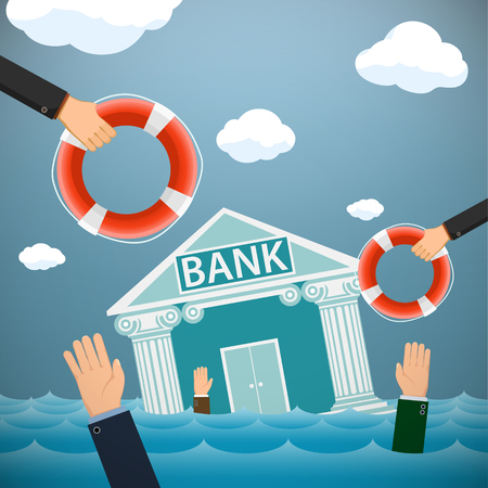 Bank building and people drown in the water. Financial bankruptcy. Vector illustration Illusztráció