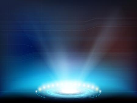 Faretto luminoso con interfaccia HUD. Proiettore futuristico o portale per il teletrasporto. Sfondo vettoriale. Vettoriali