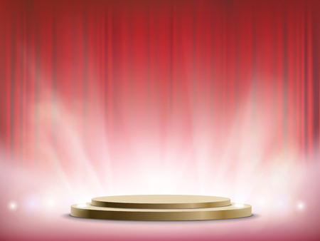 Spotlights illuminate a round stage. Winner podium with red curtain. Vector illustration. Stock Vector - 116599268