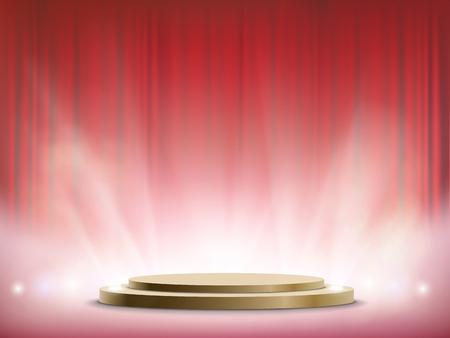 Spotlights illuminate a round stage. Winner podium with red curtain. Vector illustration.