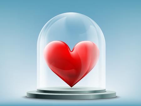 Corazón rojo dentro de una cúpula de cristal. Ilustración vectorial de stock. Ilustración de vector