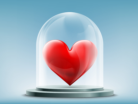 Red heart inside a glass dome. Stock vector illustration.
