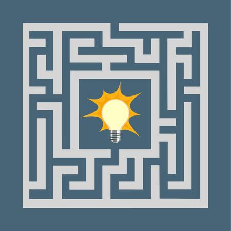 Light bulb inside the maze. Stock vector illustration.