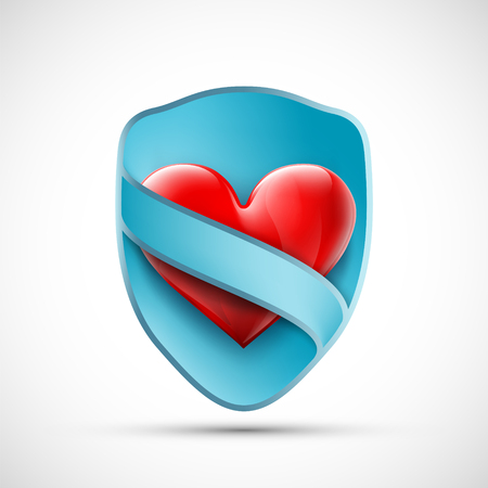 Red heart on shield with blue ribbon. Aid and donor logo. Vector illustration.