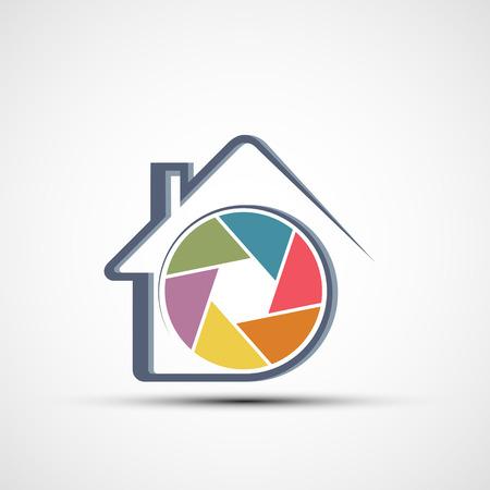Home CCTV security camera. Logo monitoring and surveillance device. Vector icon.