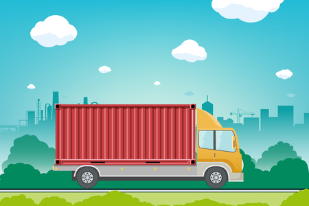 Truck with container rides on the street. Moving service. Cargo delivery. Vector illustration. Illustration