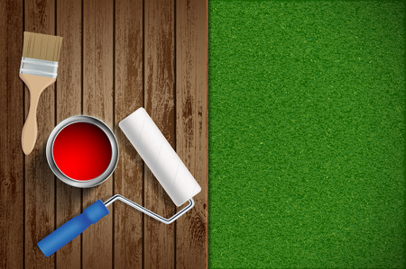 Paint roller, paint brush on wood and lawn background. Construction repair tools. Vector illustration.