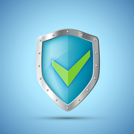 Metal Shield Icon with green Check Mark. Vector illustration.