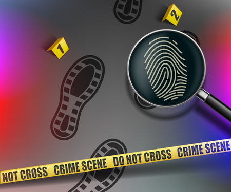 Crime scene. Magnifying glass with fingerprint. Yellow police warning tape. Vector illustration