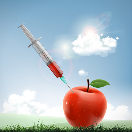 Apple with a medical syringe. Fruit with nitrates and GMO. Genetically modified organism. Vector illustration. Stock Vector - 118976739