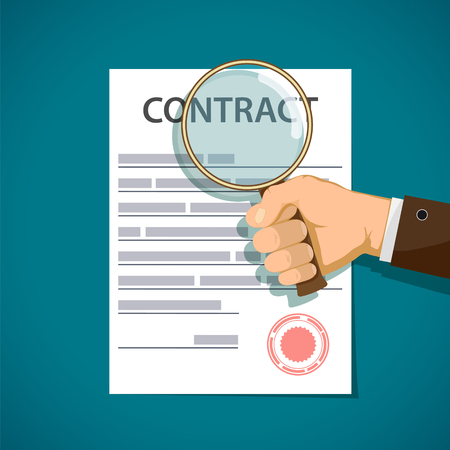 Man holding a magnifying glass and study contract. Vector illustration