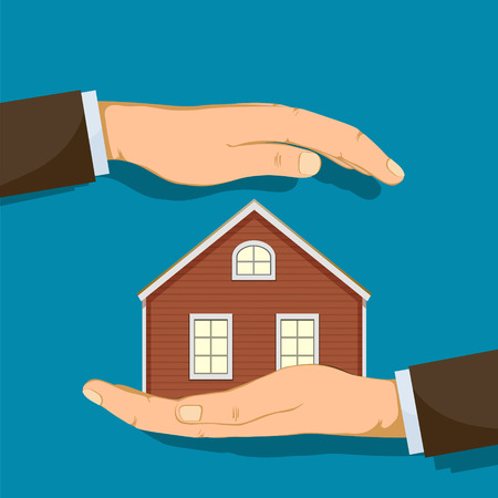 Hand holding house. Real estate or safety concept. Vector illustration.