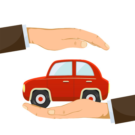 Car on the human palm. Isolated on white background. Vector illustration. Illustration