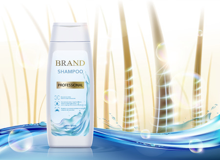 White plastic packaging with hair shampoo. Background with human hair. Design of brand label . Vector illustration.