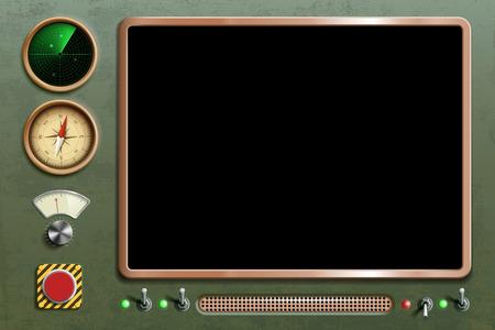 Appareil avec tableau de bord et écran. Panneau de commande rétro vintage avec boutons et interrupteurs. Illustration vectorielle.