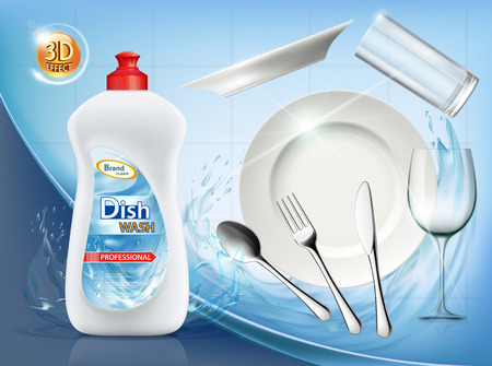 Dishwashing liquid soap. Clean plate and cutlery. Vector illustration.