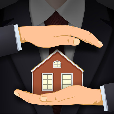Man in suit holding house. Real estate or safety concept. Vector illustration.