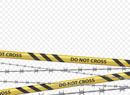 Police warning tape and a metal barbed wire. Isolated on a transparent background. Vector illustration. Illustration