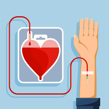 Blood donation. Bag in shape of a red human heart. Vector flat illustration.