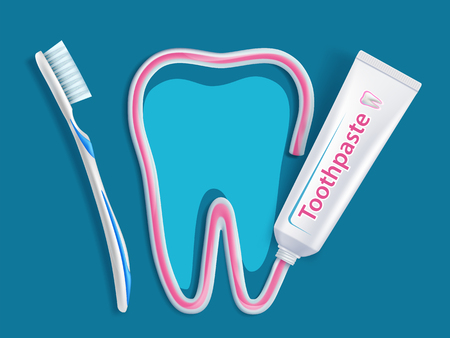 Toothbrush with toothpaste. Packaging with label design. Dental hygiene of teeth. Vector illustration. Ilustração