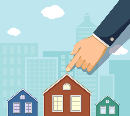 Man points a finger at the house. Buying a property. Real estate concept. Vector illustration.