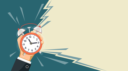 Ringing alarm clock is in the hand of a man. Banner with copy space. Vector illustration.