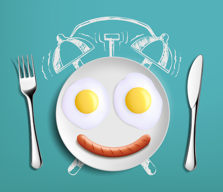 Breakfast time. Fried eggs on the plate as an alarm clock. Vector illustration. Stock Vector - 118081810