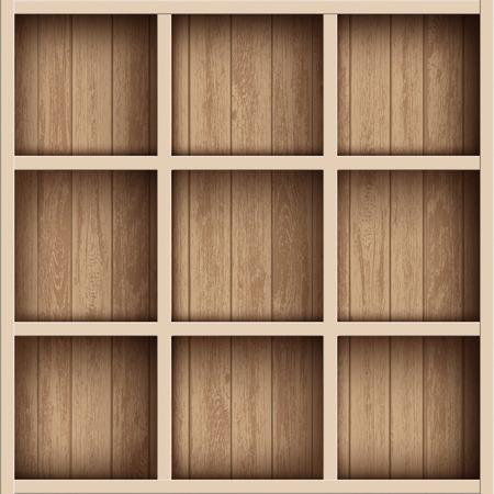 Wooden empty bookshelf or tool box. Shelves for the warehouse. Vector illustration.