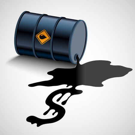 Barrel with fuel. Oil flows into a dollar sign. Vector illustration Stock Vector - 118976843