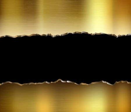Torn golden metal plate. Broken steel background. Vector illustration.