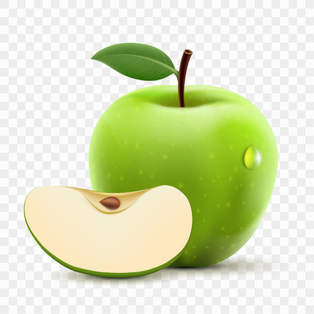 Green apple and slice. Isolated on a transparent background. Vector illustration.