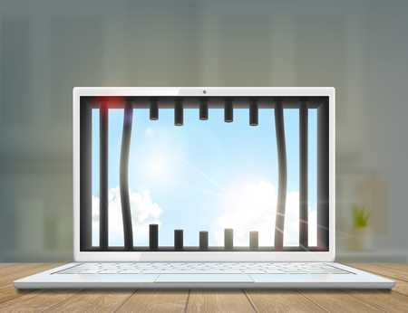 Window with prison bars in the laptop screen. Vector illustration. Illusztráció
