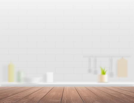 Wooden table on a defocused kitchen interior background. Vector illustration.