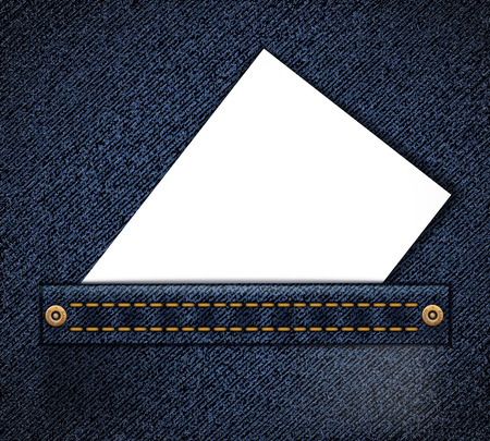Empty blank document or business card in jeans pocket. Background for advertising. Vector illustration. Stock Vector - 119838779