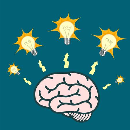 Light bulb around human brain. Stock vector illustration. Illustration