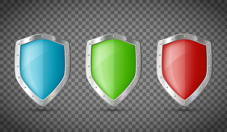 Metal shields isolated on transparent background. Vector illustration.