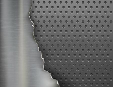 Torn metal background. Broken steel plate. Stock vector illustration.