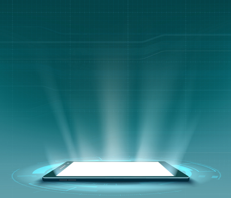 Smartphone with white blank screen. Futuristic HUD user interface. Technology background. Vector illustration.