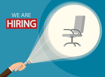 Employment recruitment. Announcement of hiring. Hr business concept. Stock vector illustration. Reklamní fotografie - 119838785