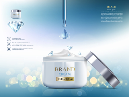 Cosmetic cream with diamond. Coenzyme Q10. Packaging brand design. Vector illustration. Banque d'images - 119838787