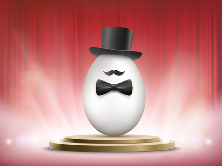White chicken egg in a hat and a bow tie. Easter holiday performance. Vector illustration. Illustration