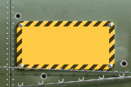 Blank yellow warning metal plate. Steel background with holes and barbed wire. Vector illustration.