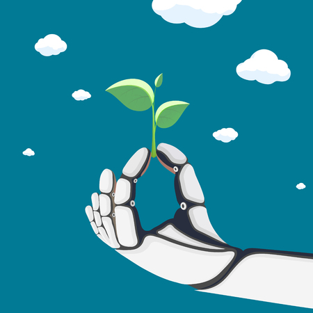 Robotic arm or an astronaut in a spacesuit keeps plant with green leaves. Vector illustration. Vettoriali