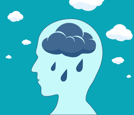 Cloud and rain drops inside the head. Mental health and depression. Vector illustration.