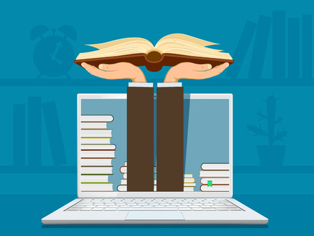 Online learning. Hands holding an open book. Vector illustration.