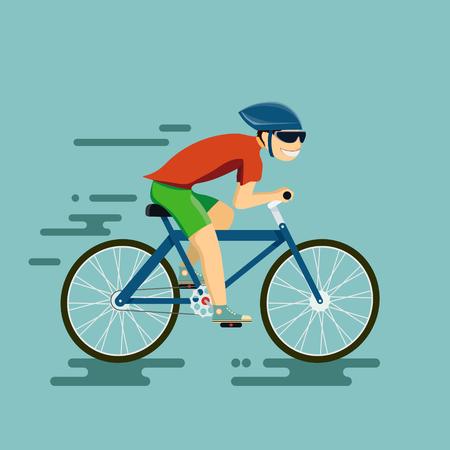 Uomo felice in sella a una bicicletta. Illustrazione vettoriale nello stile della grafica piatta.